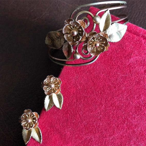 Antigo Conjunto Pulseira Bracelete Brincos Dourados Francês