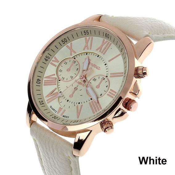 Relógio Genova Feminino Branco Com Pulseira De Couro Lindo!!