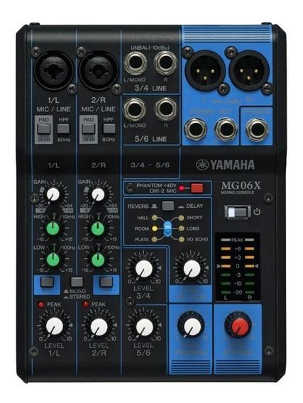 Mesa De Som Yamaha Mg06x Bivolt Com 6 Canais 2 Entradas De