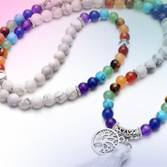 Japamala 108 Contas Howlita Branca Pedras Naturais Da Paz