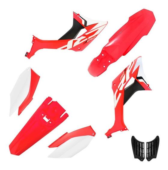 Kit Plástico Biker Evo Crf 250f Com Adesivos Vermelho / Branco