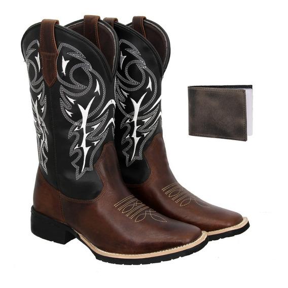 Bota Texana Country Masculina Couro Delegada+carteira