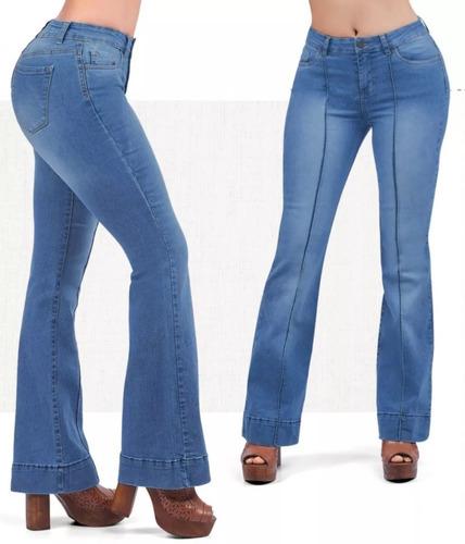 Pantalon Jeans Dama Mujer Moda Acampanado Mezclilla Strech Mercado Libre