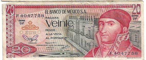 Billete De 20 Pesos Mexicanos De 1977 Serie Df