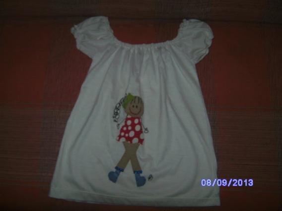 Ne087 Blusa Branca Infantil Franzida Tamanho: 2 Bonequinha