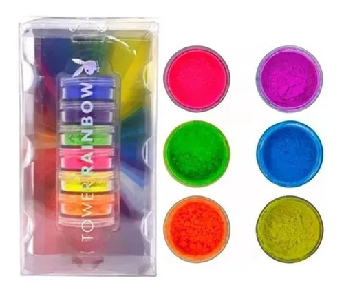 Kit 6 Sombra Pigmento Neon Colorido (1 De Cada Cor) Playboy