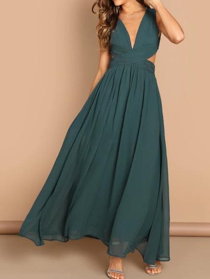 Vestido Verde De Fiesta Cruzado