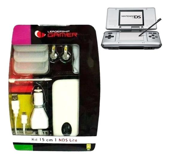 Kit 15 Em 1 P Nintendo Ds Nds C Case Caneta Leadership Gamer