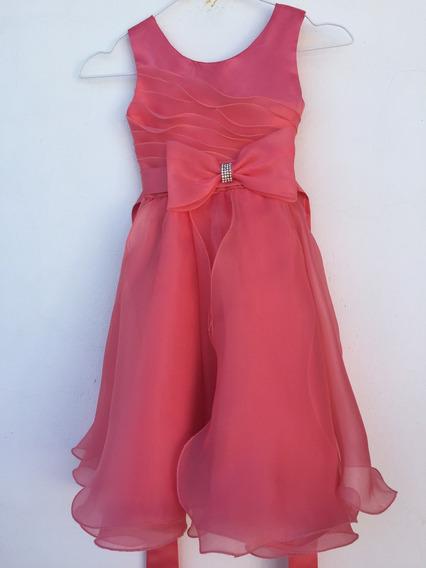 Vestido De Fiesta Nena Talle 6-8 Color Coral