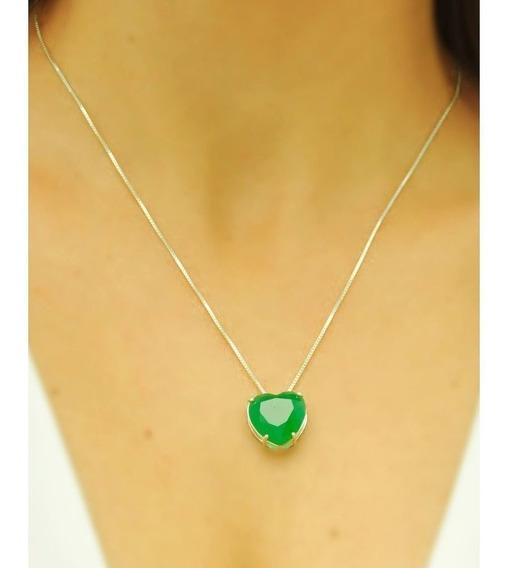 Colar De Coração Verde Prata