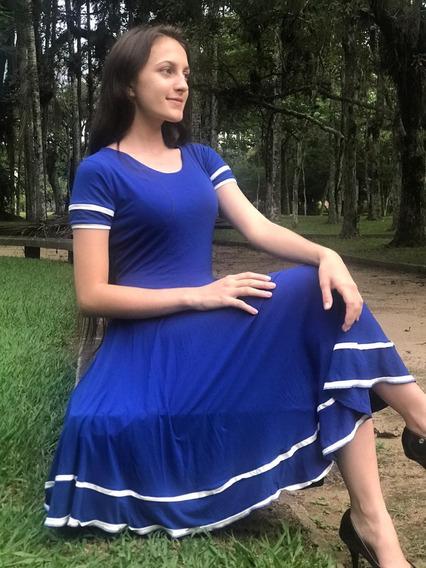 Vestido Midi Evangelico Gode Duplo Rodado Feminina Moda