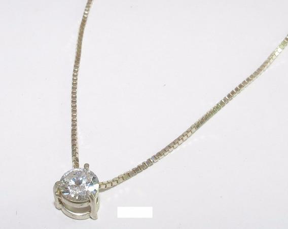 Colar De Prata 925 Com Cristal 0,6 X 0,6 - Tudo Em Prata 925