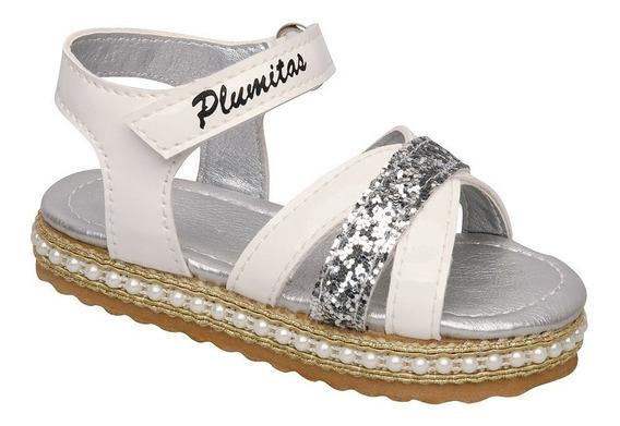 Sandalia Plumitas Para Bebé Blanco Con Pulsera Y Brillos