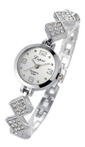 Relógio Feminino Analógico Metal Rosé Prata Luxo Pequeno