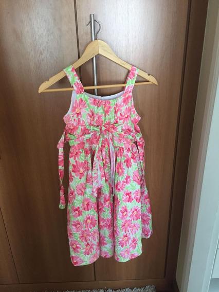Vestido Infantil Menina Florido Rosa E Verde Com Laço
