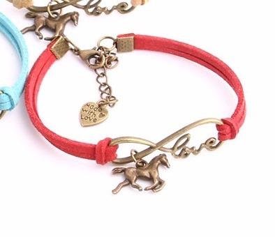 Pulseira Cavalo Love Hipismo Tambor Camurça Bracelete