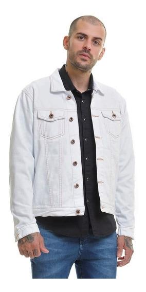 Jaqueta Jeans Premium Branca Masculina Slim Fit Offert