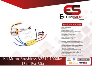 Kit Motor Brushless A2212 1000kv 13t + Esc 30a