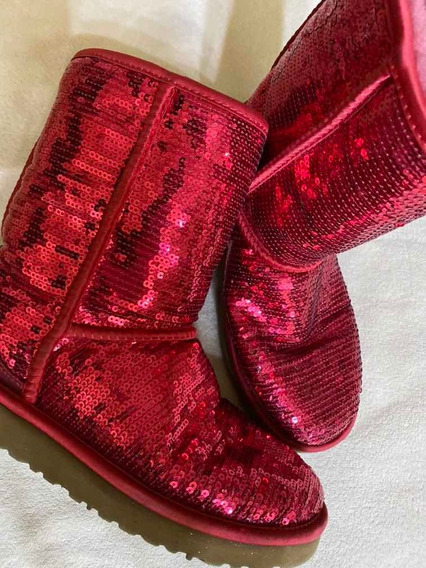 Botas Mujer Ugg Originales Corderito Rosas Con Brillos Rosa