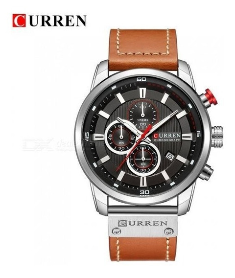 Relógio Curren 8291 100%funcional Pulseira De Couro Cronógrafo