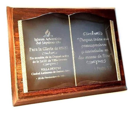 Plaqueta Libro Acero Premio Trofeo