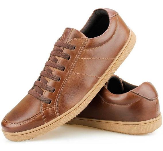 Sapato Tênis Casual Couro Amarração Elástico Café - Perlatto