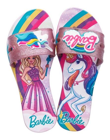 Rasteirinha Barbie Unicórnio Rosa Glitter - Grendene 22271