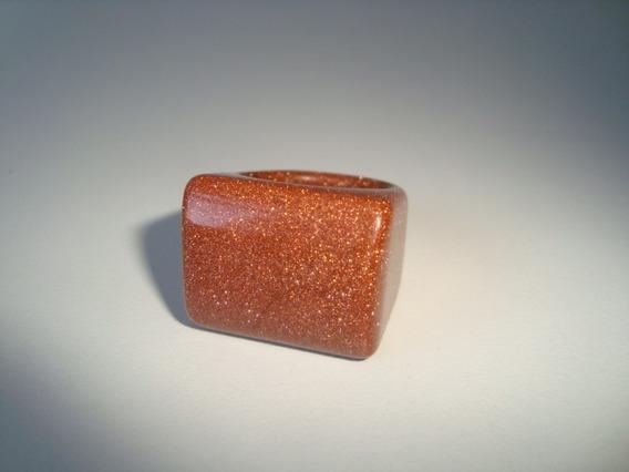 Anel Pedra Do Sol Dourado Natural Polido Aro 23 - A70