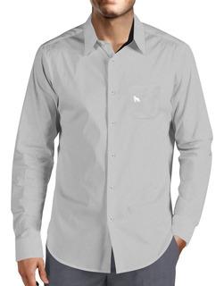 Camisa Social Lobo Branco Vip Cinza E Chumbo