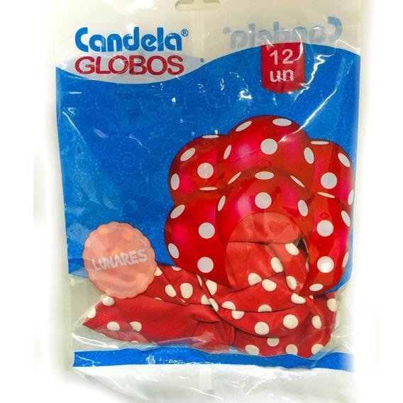 Globos Rojos C/ Lunares Blancos 12un - Barata La Golosineria
