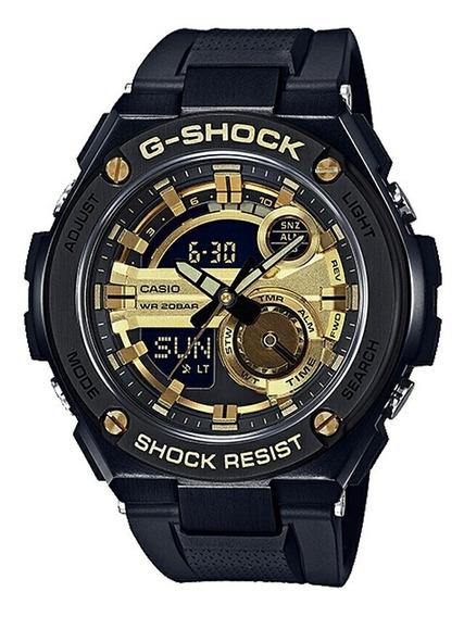 Relógio Casio G-shock Gst-210 Preto E Dourado Masculino Reló