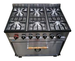 Cocina Industrial Tecnocalor 6 H Horno Pizzero Ac. Inox Cuot
