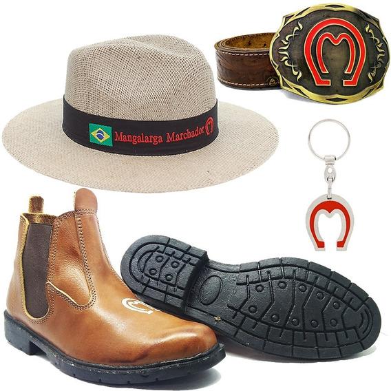Botina Mangalarga + Chapeu Cinto Couro Fivela Cowboy Brinde