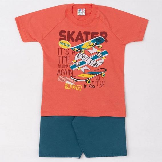 Conjunto Infantil Camisa E Bermuda Masculino W.kids Skate