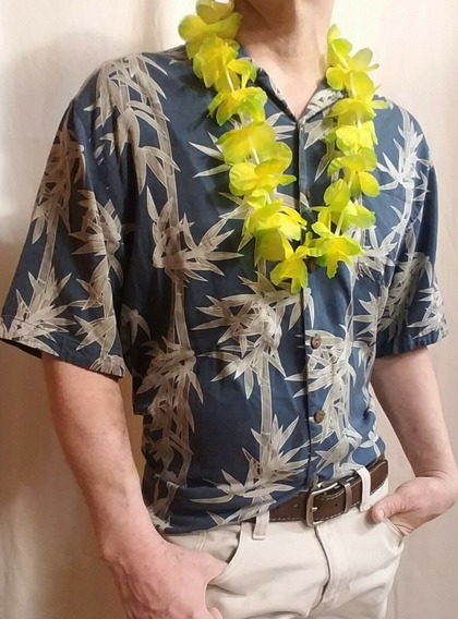 Jamaica Jaxx Camisa Hawaiana 100% Seda De Hombre Talla Xl