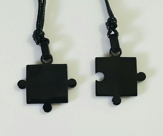 Colar Duplo Casal Quebra Cabeça Titânio Preto - 2 Colares