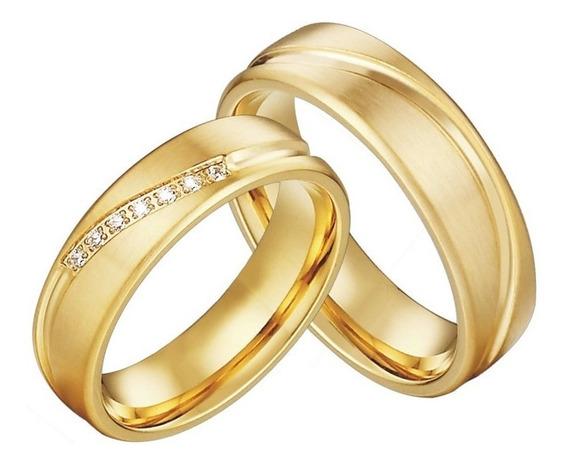Alianças De Tungstênio 6mm Banhadas A Ouro 18k Modelo Anatômico Antialérgico Pedras Zircônia Amor Eterno