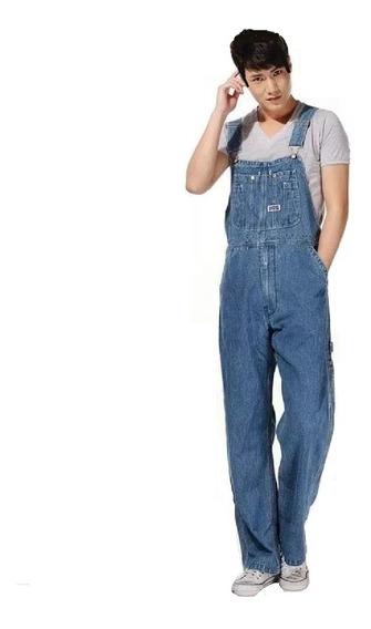 Macacão Jardineira Masculino Jeans Largo Tamanhos Plus Size