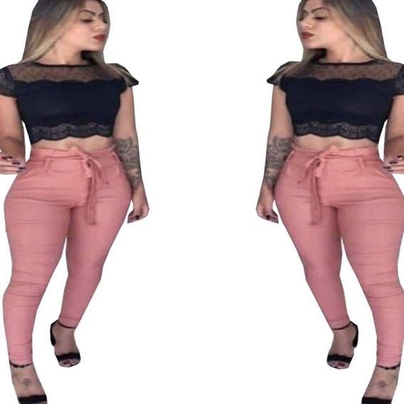 Calça Feminina Cintura Alta Laço Clochard Justa