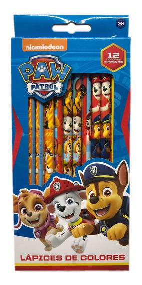 Lápices De Colores Paw Patrol Escolares Caja Con 12 Lápices