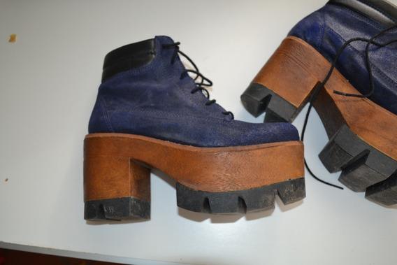 Botas Azules Acordonadas Con Plataforma Alta - N° 37
