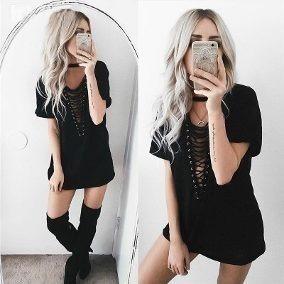Roupa Feminina Vestido Blusão Chocker Moda Verão Ilhos