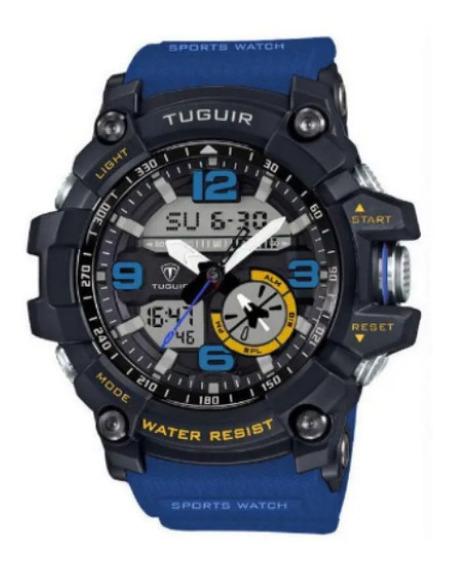 Relógio Tuguir Tg6009 Preto E Azul Esporte À Prova D
