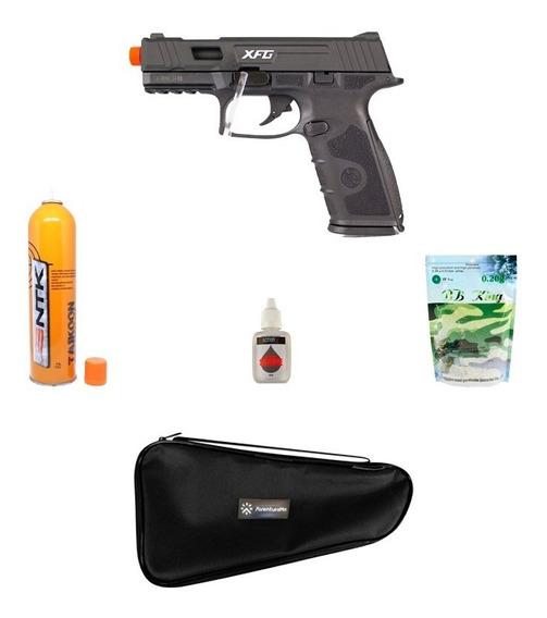 Pistola Airsoft Ics Black Leopard Preta + Acessórios + Capa
