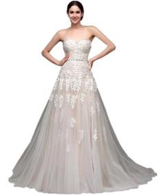 Vestido De Novia Boda Champage Encajes Bordados Elegante