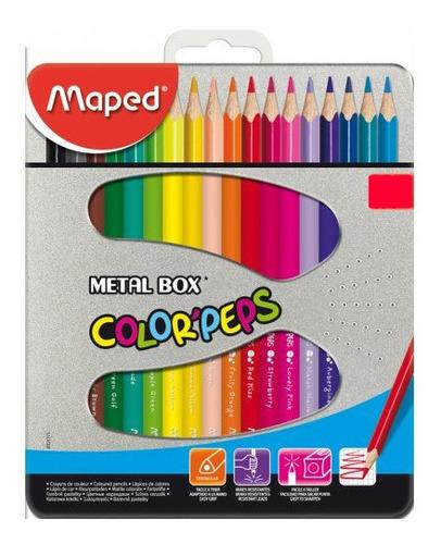 Imagen 1 de 1 de Lápices Maped Color Peps Caja Metal 24 Colores