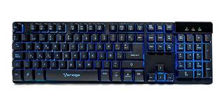 Teclado gamer Vorago KB-502 QWERTY español España negro con luz RGB