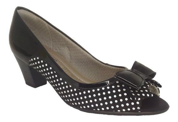 Sapato Feminino Peep Toe Poá Preto Piccadilly 9606