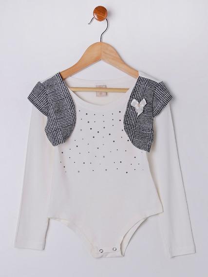 Body Infantil Para Menina - Off White