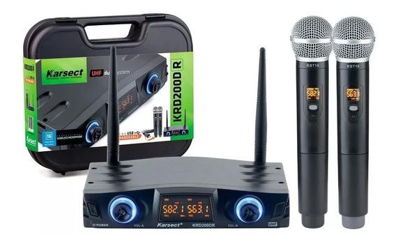 Microfone Karsect Sem Fio Krd200 Dr Uhf Duplo Recarregavel